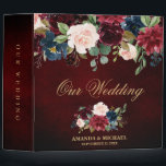 """Burgundy Red Navy Floral Rustic Boho Wedding Album 3 Ring Binder<br><div class=""""desc"""">Watercolor Burgundy Red Navy Floral Rustic Boho Wedding Photo album binder. Perfect for a fall wedding. The design features a stunning bouquet of burgundy / Marsala , peach , navy flowers / roses with matching leaves. Please find more matching designs and variations in my &quot;blissweddingpaperie&quot; store. And feel free to...</div>"""