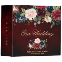 Burgundy Red Navy Floral Rustic Boho Wedding Album 3 Ring Binder