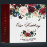 """Burgundy Red Navy Floral Rustic Boho Wedding Album Binder<br><div class=""""desc"""">Watercolor Burgundy Red Navy Floral Rustic Boho Wedding Photo album binder. Perfect for a fall wedding. The design features a stunning bouquet of burgundy / Marsala , peach , navy flowers / roses with matching leaves. Please find more matching designs and variations in my &quot;blissweddingpaperie&quot; store. And feel free to...</div>"""