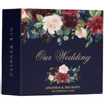 Burgundy Red Navy Floral Rustic Boho Wedding Album Binder