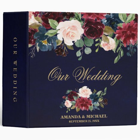 Burgundy Red Navy Floral Rustic Boho Wedding Album Binder