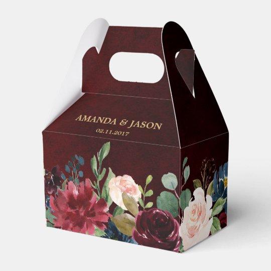 26 Rustic Wedding Ideas That Still Feel Elevated: Burgundy Red Navy Floral Rustic Boho Wedding Favor Box