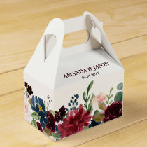 Burgundy Red Navy Floral Rustic Boho Wedding Favor Box