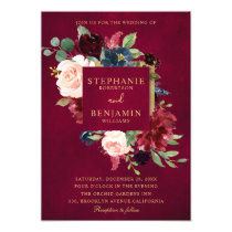 Burgundy Red Navy Floral Rustic Boho Wedding Invitation