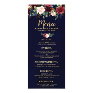 Wedding Themed Burgundy Red Navy Floral Rustic Boho Wedding Menu