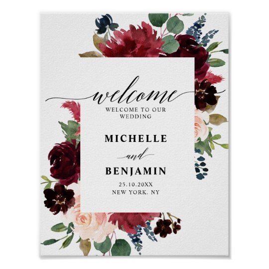 9047ac4ed66f3 Burgundy Red Navy Floral Rustic Boho Wedding Poster