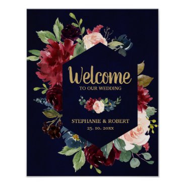 Wedding Themed Burgundy Red Navy Floral Rustic Boho Wedding Sign
