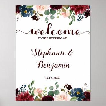Art Themed Burgundy Red Navy Floral Rustic Boho Wedding Sign