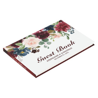 Burgundy Red Navy Floral Rustic Wedding guest book