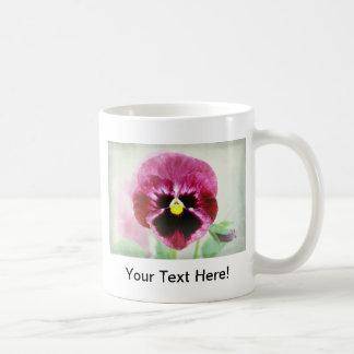 Burgundy Red Pansy Flower Mug On White