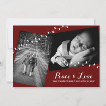 Burgundy Red Peace & Love Christmas Photos Lights Holiday Card