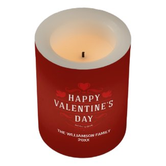 Burgundy Red Personalized Happy Valentine's Day Flameless Candle