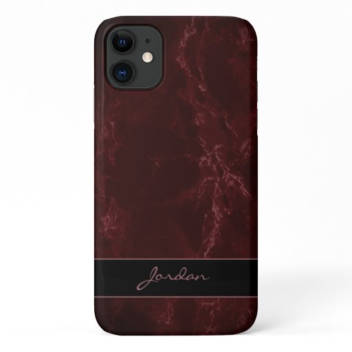 Burgundy Red Polished Marble Stone with Name iPhone 11 Case