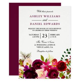 Burgundy Red Purple Flowers Floral Wedding Invite