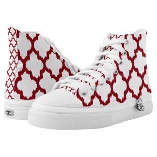 Burgundy red Quatrefoil Ikat Pattern Printed Shoes