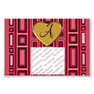 Burgundy red Retro squares monogram Photograph