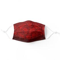 Burgundy Red Rose Black Floral Pattern Adult Cloth Face Mask