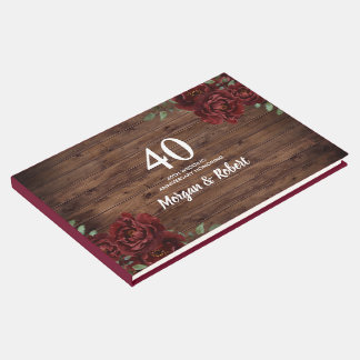 Burgundy Red Rose Rustic 40th Wedding Anniversary Guest Book
