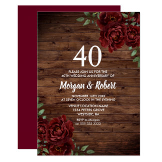 Burgundy Red Rose Rustic 40th Wedding Anniversary Invitation