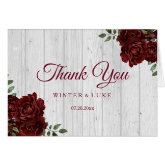 Burgundy Red Rose Rustic Wedding Thank You Card
