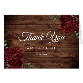 Burgundy Red Rose Rustic Wood Wedding Thank You Card