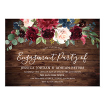 Burgundy Red Rustic Country Engagement Party Invitation