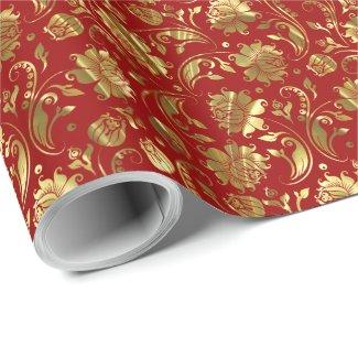 Burgundy Red & Shiny Gold Vintage Floral Damasks Wrapping Paper