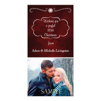 Burgundy Red Silver Christmas Photo Card