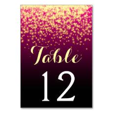 Burgundy red sparkling lights wedding table number table card