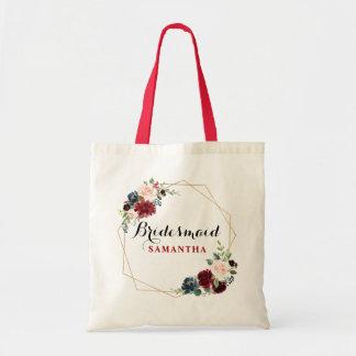Burgundy Red watercolor Floral Bridesmaid gift Tote Bag
