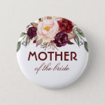 "Burgundy Red Watercolor Flowers Elegant Wedding Pinback Button<br><div class=""desc"">Wedding button for mother,  father,  sister,  brother of the bride or groom... </div>"