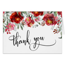Burgundy Red Watercolor Flowers Thank You Script