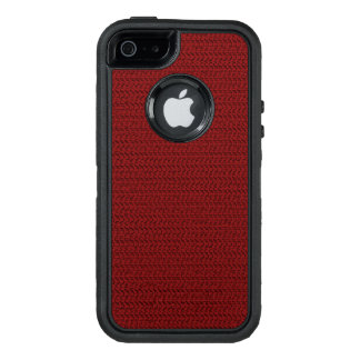 Burgundy Red Weave Mesh Look OtterBox Defender iPhone Case