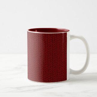 Burgundy Red Weave Mesh Look Two-Tone Coffee Mug