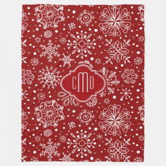 Burgundy Red & White Christmas Snowflakes Fleece Blanket