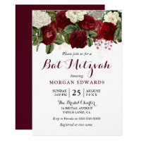 Burgundy Red White Floral Bat Mitzvah Invitation