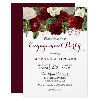 Burgundy Red White Floral Engagement Party Invite