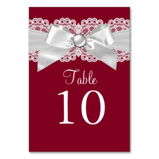 Burgundy Red White Pearl Bow Table Number Card