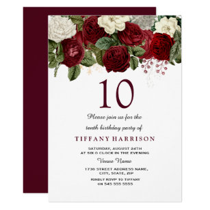 Burgundy Red White Rose 10th Birthday Party Invite