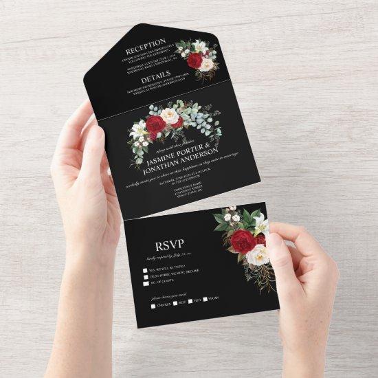 Burgundy Red & White Roses on Black Wedding All In One Invitation