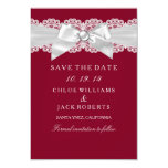 Burgundy Red White Wedding Pearl Bow Save The Date Card