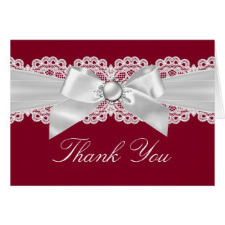 Burgundy Red White Wedding Pearl Bow Thank You Card