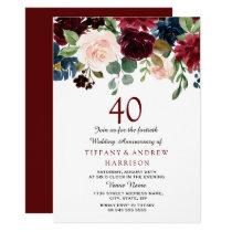 Burgundy Red Wine 40th Wedding Anniversary Invite