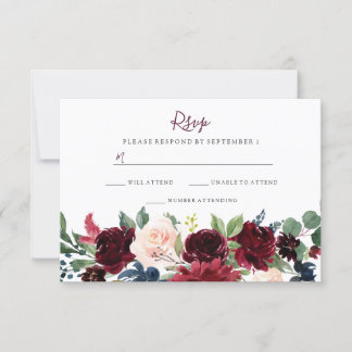Burgundy Red Wine Flowers Elegant Wedding RSVP