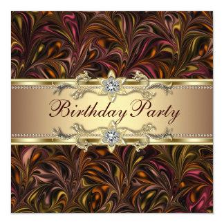 Burgundy Red Wine Gold Birthday Party Invitation