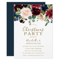 Burgundy Red Wine Gold Christmas Party Invite