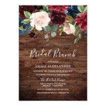 Burgundy Red Wine Rustic Wood Floral Bridal Shower Invitation