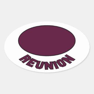 Burgundy Reunion Design Oval Sticker