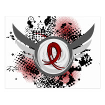 Burgundy Ribbon And Wings Multiple Myeloma Postcard