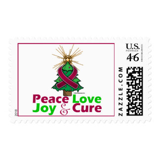 Burgundy Ribbon Christmas Peace Love, Joy & Cure Postage Stamps